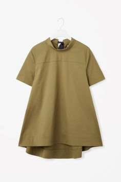 COS image 2 of Tie-neck cotton top in Olive Green
