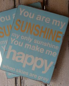 You Are My Sunshine Typography Word Art Sign - Robins Egg Blue