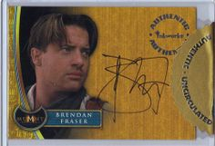 The card features the autograph of Brendan Fraser who played Rick O'Connell in the movie. The cards you will receive are shown in the scan. Brendan Fraser The Mummy, Link, Baseball Cards, Ebay, Movie Posters, Film Poster, Billboard, Film Posters