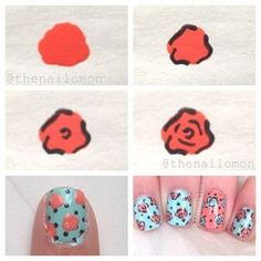 | Here is the tutorial for my vintage rose nail art!