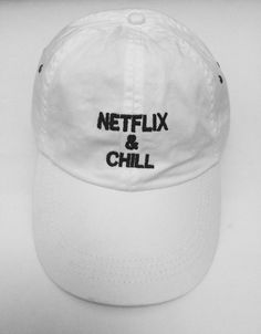 Netflix and chill white baseball cap with by ValDesignsOnline White Baseball  Cap 872f79ef26b4
