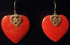 Coral Earrings in .925 Sterling Silver Large! FREE SHIPPING!
