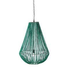Lampada a sospensione in metallo e legno verde D 56 cm APUCARANA