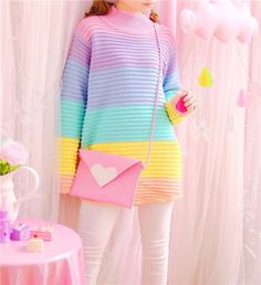 Kawaii Pastel Rainbow Sweater – Rebel Style Shop Best Spring Outfits Casual 2019 for Women Rainbow Outfit, Rainbow Fashion, Pastel Fashion, Rainbow Clothes, Harajuku Fashion, Kawaii Fashion, Cute Fashion, Fashion Outfits, Nail Fashion