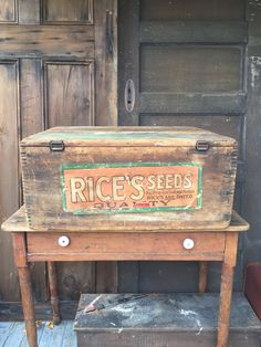 Large Antique Seed Box by on Etsy Antique Tools, Antique Decor, Painted Secretary Desks, Old Wooden Boxes, Dry Sink, Primitive Furniture, Primitive Decor, Farmhouse Decor, Seeds