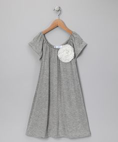 girls gray flower peasant frock...last one in stock!