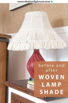 This DIY Woven Lampshade is easy to make and doesn't require any fancy macrame knots. A budget project to bring some texture to your lighting! #DIYProjects #Macrame Diy Wall Art, Diy Wall Decor, Diy Wood Projects, House Projects, Furniture Makeover, Diy Furniture, Diy Whiteboard, Thrift Store Furniture, Butterfly House