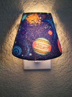 Solar System Fabric on Shaded Night Light. Dorm Room, Science, Planets, Boys or Girls, $20