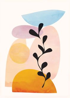 Abstract Art Print by Flow Line - X-Small Illustration Art, Illustrations, Abstract Line Art, Abstract Shapes, Diy Canvas Art, Minimalist Art, Art Inspo, Watercolor Art, Art Drawings