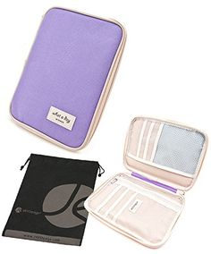 JAVOedge Purple Carry All Passport Document Travel Wallet Inner Pocket Zipper Closure Bonus Drawstring Storage Bag ** Details can be found by clicking on the image.