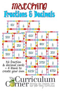 Matching Fractions & Decimals Cards for Math FREE from The Curriculum Corner