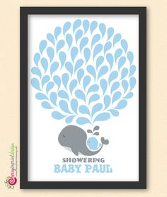 """Mommy whale piggybacking her baby whale--a """"Showering Baby Whale"""" guest book for under the sea and nautical themed baby showers :)"""