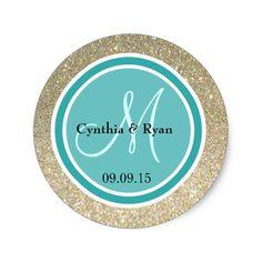Gold Glitter and Teal Green Wedding Monogram Classic Round Sticker