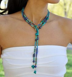Turquoise Lariat Necklace, Blue Lapis Lazuli, Southwest Jewelry, Mothers Day Gift via Etsy - Crafting For You