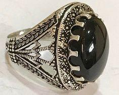YemeniAqeeqShop on Etsy Copper Jewelry, Unique Jewelry, Men's Jewelry, Royal Rings, Black Opal Stone, Jewelry Design Drawing, Body Jewellery, Ring Necklace, Bracelets For Men