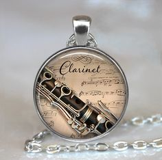 Clarinet and Music pendant Clarinet pendant by thependantemporium