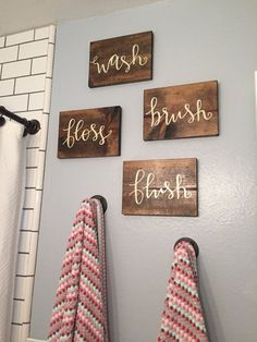 Wash Brush Floss Flush Wood Signs  Children's by CharleeInTheRhy