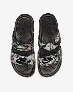cf035a7dd7 Nike Benassi Duo Ultra Marble Black Women's Lifestyle Shoes 819717-003  #nikesandals #nikeshoes