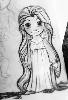 Yeah, today I just can't stop sketching. :D This is the last doodle for tonight! A baby Rapunzel❤️ ^-^