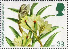 Orchids 39p Stamp (1993) Dendrobium vexillarius var. albiviride