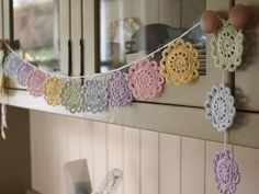 Doily bunting pastels
