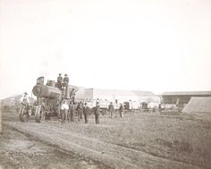 Steam Engine Pulling Wagons near Bartlett, ND - From the photo album of Victoria Schroeder Steamers, History Photos, Steam Engine, Barns, Farming, Monument Valley, Steampunk, Engineering, Victoria