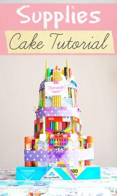 School supplies cake tutorial