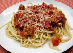 Jo Mama's World Famous Spaghetti. I (Deb) made this tonight using tomatoes, onions, and green peppers from my garden. Yummy!
