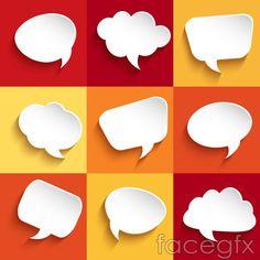 Paper-cut language bubble vector