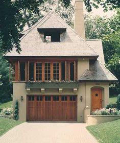 Windows, wooden garage door, colors