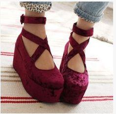 Chic Roman Platform Women Mary Jane Creeper Gothic  Wedge Heels Velvet Zip Shoes