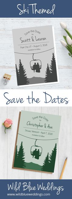 Hit the slopes with these adorable ski themed wedding save the dates! #skiwedding #mountainwedding #coloradowedding