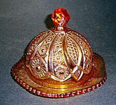Golden Amberina Carnival Butterdish Heirloom (Image1)