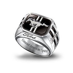 The Bradford Exchange Engraved Sterling Silver Ford Mustang Mens Ring: Untamed American Spirit Ford Mustang Boss, Mustang Cars, Ford Gt, Ford Mustangs, Auto Ford, Ford Motor Company, Mustang T Shirts, American Spirit, Ford Trucks