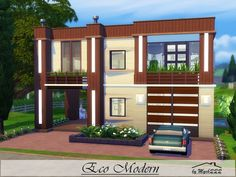Eco Modern is a very cozy little home perfect for small family with one child built on 20x20 lot in Windenburg. Found in TSR Category 'Sims 4 Residential Lots'