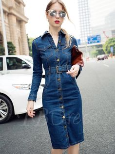 Plus Size Denim Dress 2017 feminino Spring Autumn Women Dresses Slim Long Sleeve Vintage Casual pencil Dress With Belt Ladies Day Dresses, Dresses Uk, Dresses With Sleeves, Sleeve Dresses, Denim Maxi Dress, Jeans Dress, Shirt Dress, Womens Denim Dress, Short Frocks