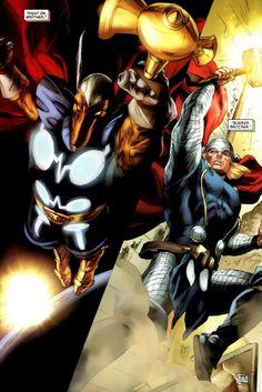 """Fight on, brother."" (Secret Invasion: Thor #3, 2008) - Doug Braithwaite, Colors: Brian Reber"