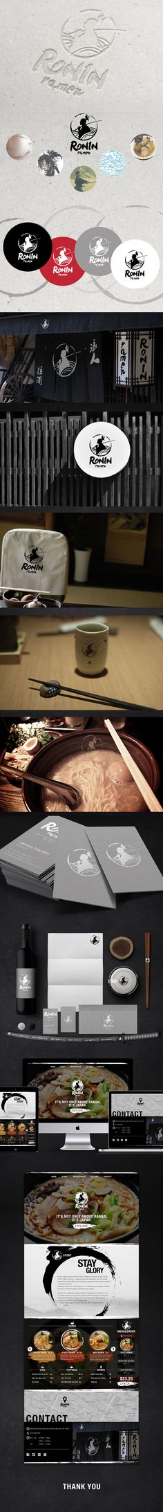 Ronin Ramen-Branding design of a Japanese restaurant on Behance Restaurant Branding, Restaurant Design, Ramen Restaurant, Chinese Restaurant, Food Branding, Branding Design, Logo Design, Japanese Branding, Lotus Logo