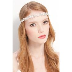 Tasha 'Beautiful Crystal' Head Wrap ($78) ❤ liked on Polyvore featuring accessories, hair accessories, hair, people, jewelry, headbands, ivory, crystal hair accessories, tasha hair accessories and ribbon headband