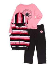 Look what I found on #zulily! Black Stripe Hooded Vest Set - Infant & Toddler by Converse #zulilyfinds
