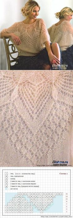 Вязание на спицах из тонкого мохера - Ажурный джемпер-блуза - связано по кругу с цельнокроенным рукавом.