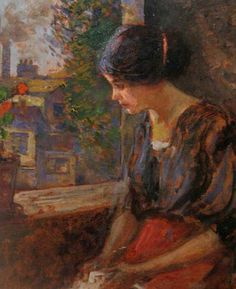 """Nicolae Vermont, """"La fereastră"""" (""""At the Window"""") Vermont, Gustave Courbet, Window View, Manet, Paintings I Love, Art Boards, Impressionist, Art Photography, Sketches"""