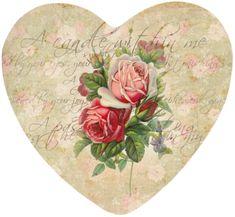 Vintage Flowers in heart Decoupage Vintage, Decoupage Paper, Vintage Paper, Valentine Images, Vintage Valentine Cards, Valentine Heart, Vintage Pictures, Vintage Images, Etiquette Vintage