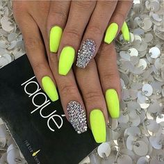 Neon nails with glitter accent bright nails neon, summer nails neon, neon nail colors Lime Green Nails, Neon Yellow Nails, Neon Nails, Love Nails, My Nails, Bright Nails Neon, Acrylic Nails Yellow, Bling Nails, Polish Nails