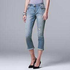 Women's Simply Vera Vera Wang Ripped Boyfriend Jeans, Size: 16, Brt Blue