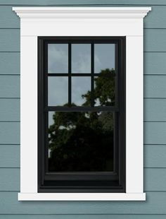 Frame out windows. No shutters. Exterior Window Molding, Window Molding Trim, Exterior Trim, Black Windows Exterior, Exterior House Colors, Black Exterior, Painted Window Frames, Black Window Frames, Cottage Windows