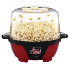 West Bend 82505 Stir Crazy Electric Hot Oil Popcorn Popper Machine with Stirring Rod Offers Large Lid for Serving Bowl and Convenient Storage, Red Best Popcorn Maker, Best Microwave Popcorn, Stir Crazy Popcorn, Popcorn Bowl, Jello Popcorn, Popcorn Holder, Popcorn Gift, West Bend Stir Crazy, Hot Air Popcorn Popper