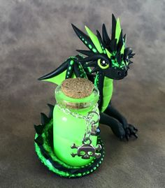 Poison dragon (the bright green glows in the dark) - by Dragons&Beasties