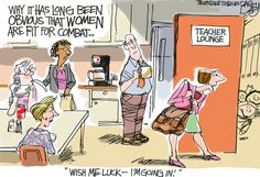 """""""Women Going to War""""  This Pat Bagley editorial cartoon appears in The Salt Lake Tribune on Friday, Jan. 25, 2013."""