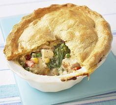 Crumbly chicken & mixed vegetable pie  http://www.bbcgoodfood.com/recipes/3429/crumbly-chicken-and-mixed-vegetable-pie#